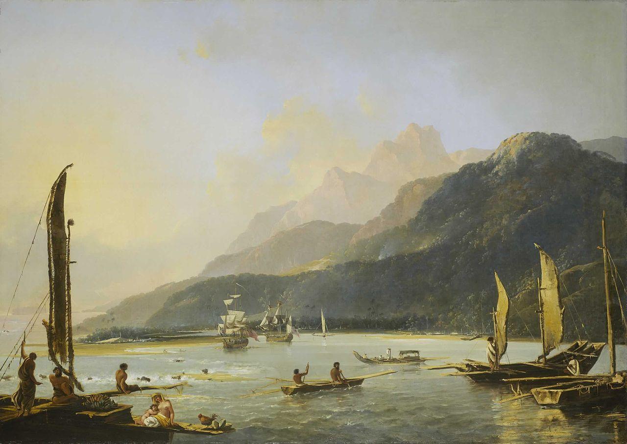 Cooks Schiffe Resolution und Adventure 1776 in der Bucht von Matawai (Tahiti); Gemälde von William Hodges (Wikipedia, gemeinfrei)