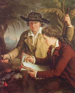 Johann und Georg Forster in der Südsee, Gemälde von John Francis Rigaud (Wikipedia, gemeinfrei)