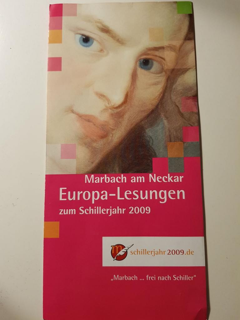 Flyer zu den Europa-Lesungen in Marbach am Neckar, 2009, (c) Kulturamt Stadt Marbach am Neckar