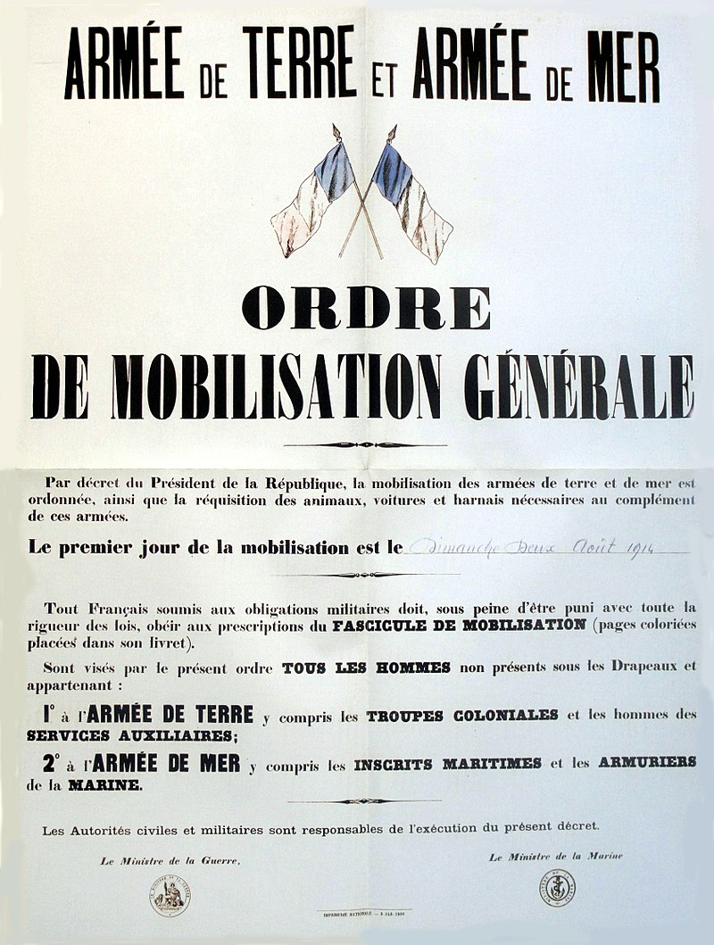 Wandplakat zur Generalmobilmachung in Frankreich 1914, Quelle: Wikimedia
