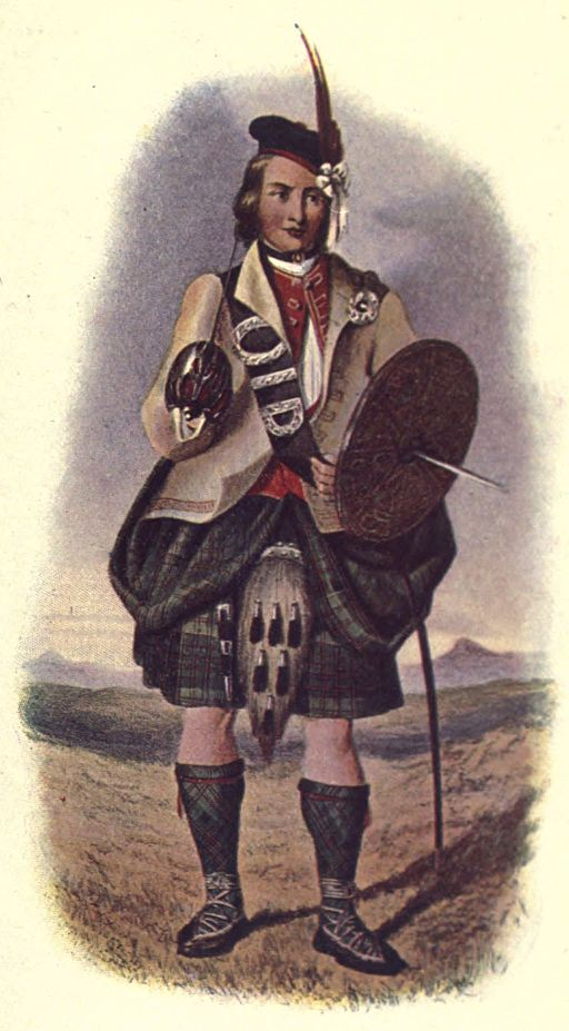Mitglied des Clan Macdonald of Clanranald, Künstler: Robert Ronald McIan. Diese Illustration stammt aus: The Highland clans of Scotland; their history and traditions, Bd. 1 (1923), Quelle: Wikimedia