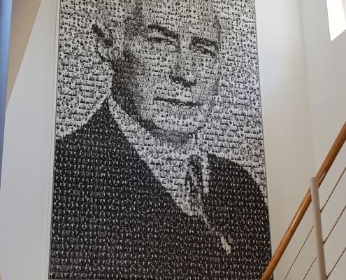 Daniel Wetzel: Theodor Heuss, Digitaldruck auf Textil, 2001 (Original: Stiftung Bundespräsident-Theodor-Heuss-Haus)