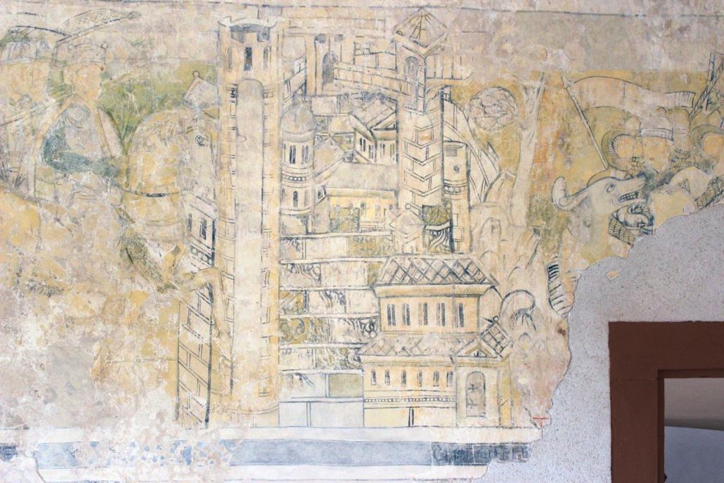 Burg Gamburg, Ausschnitt aus den Barbarossa-Fresken
