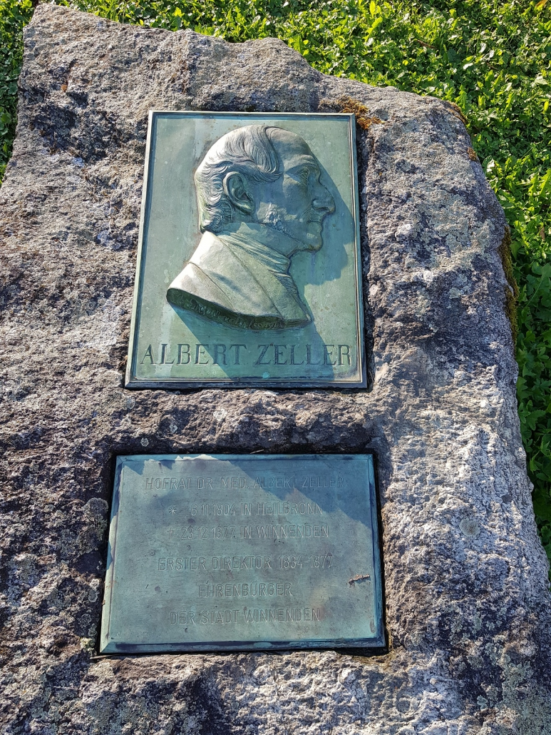 Gedenkstein für Dr. Albert Zeller, den ersten Leiter der Heilanstalt Winnental und Nikolaus Lenaus Arzt