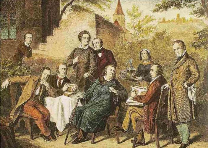 Der Seracher Dichterkreis im Kernerhaus, kolorierter Stich nach einem Ölgemälde von Heinrich von Rustige
