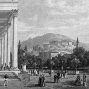 Flaneure vor dem Kurhaus in Baden-Baden im 19. Jahrhundert